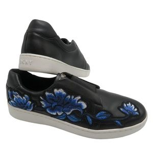 DKNY BOBBI  Embroidered Floral Slip On Sneakers